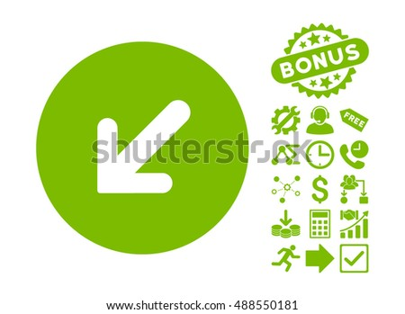 Arrow Left-Down icon with bonus pictogram. Vector illustration style is flat iconic symbols, eco green color, white background.
