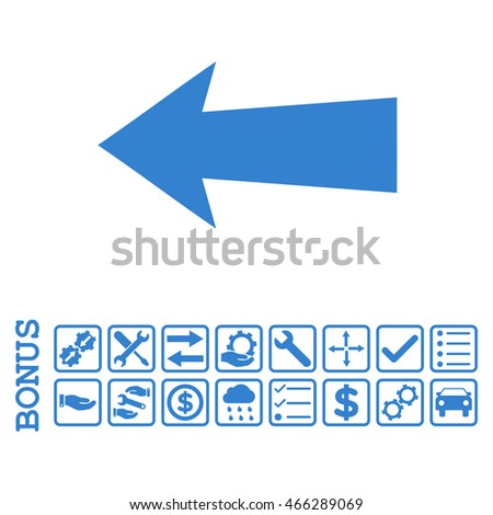 Arrow Left icon with bonus pictograms. Vector style is flat iconic symbol, cobalt color, white background. Bonus style is square rounded frames with symbols inside.