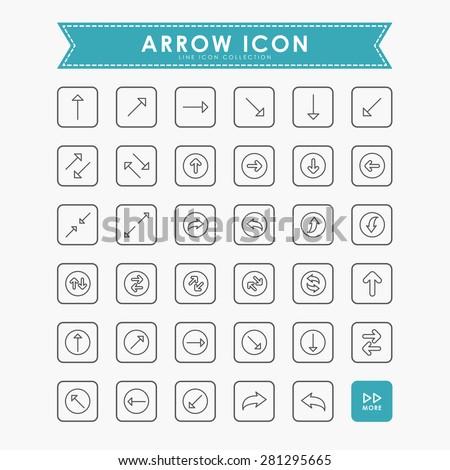 arrow minimal line icons - stock vector