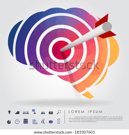 arrow on brain target with business icon vector - stock vector