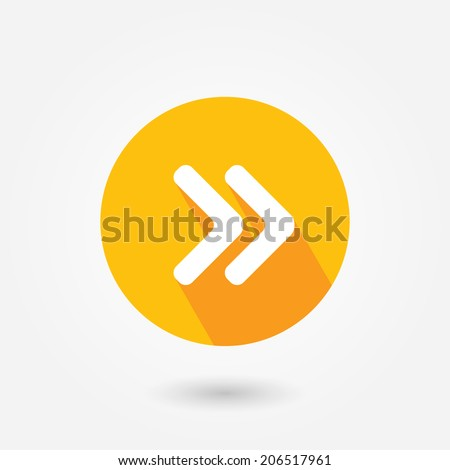 Arrow point pointing right flat icon with long shadow - stock vector
