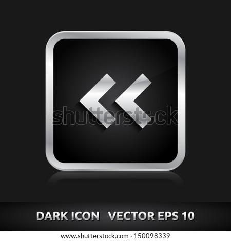 Arrow pointer icon | color dark black silver metal grey white | icon set | abstract vector symbol | template design | shadows shiny | business button | abstract 3d - stock vector