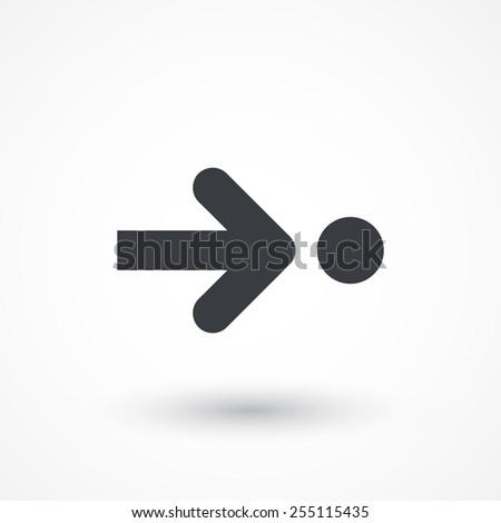 Arrow pointing a circle icon - stock vector