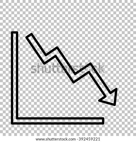 Arrow pointing downwards showing crisis. Line icon on transparent background - stock vector