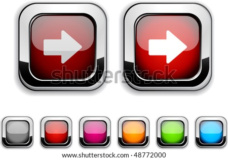 Arrow realistic icons. Empty buttons included. - stock vector