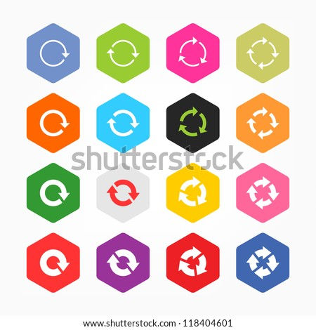Arrow refresh icon reload sign set. Minimal metro style. Simple rounded hexagon internet button gray background. Solid plain monochrome color flat tile. Vector illustration web design elements 8 eps - stock vector