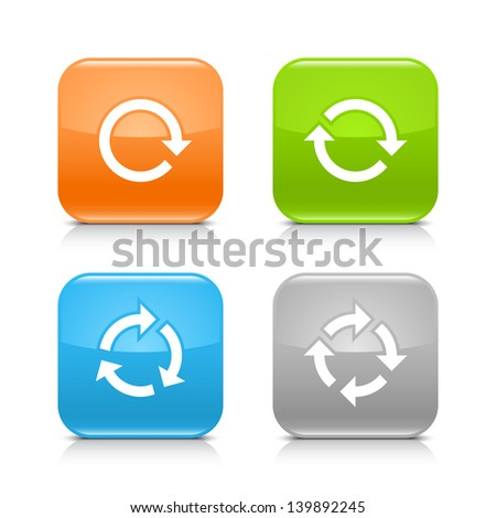 Arrow reload, rotate, refresh, repeat sign on rounded square glossy icon web internet button with shadow and reflection on white background. (set 02). Vector illustration web design element 8 eps - stock vector