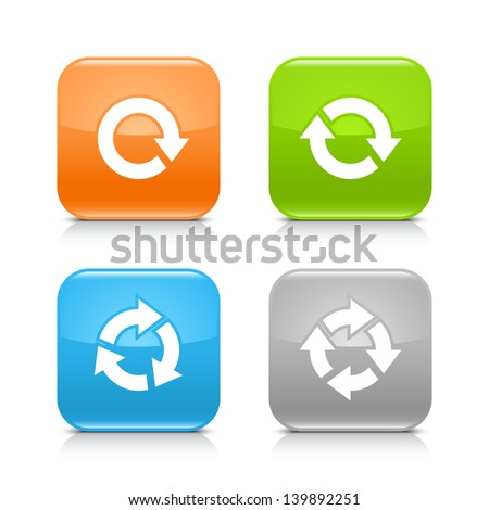 Arrow reload, rotate, refresh, repeat sign on rounded square glossy icon web internet button with shadow and reflection on white background. (set 03). Vector illustration web design element 8 eps - stock vector