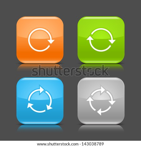 Arrow reload, rotate, refresh, repeat sign on rounded square glossy icon web internet button with shadow and color reflection on gray background (set 01). Vector illustration web design element 8 eps - stock vector