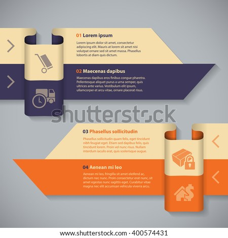 Arrow ribbon infographic template with 4 options and details  - stock vector
