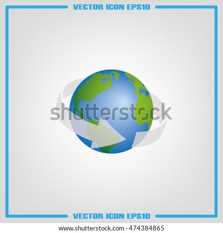 Arrow rotation around the earth icon vector eps10.