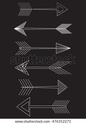 Arrow set. different variations. smooth contour. vector illustration on black background.