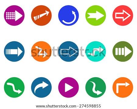 arrow sign circle button icons set - stock vector