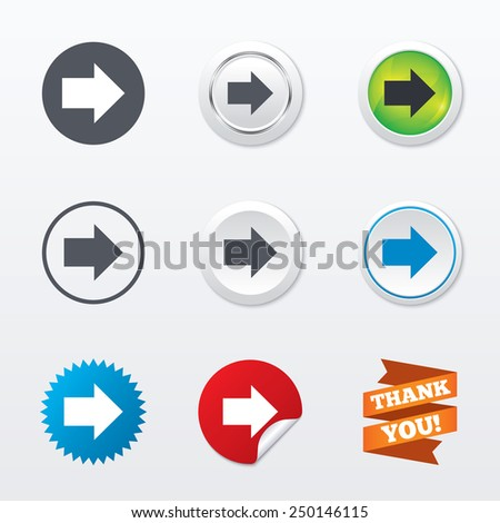 Arrow sign icon. Next button. Navigation symbol. Circle concept buttons. Metal edging. Star and label sticker. Vector