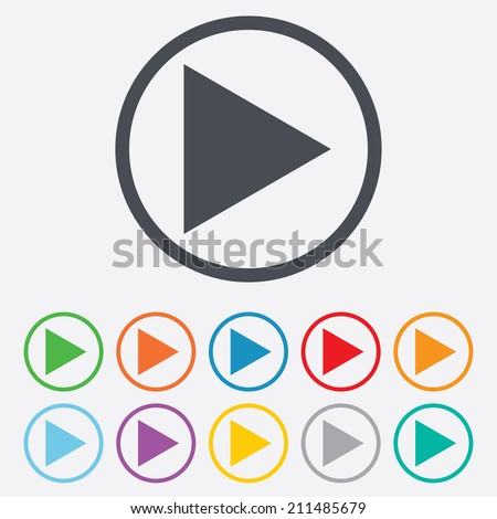 Arrow sign icon. Next button. Navigation symbol. Round circle buttons with frame. Vector - stock vector