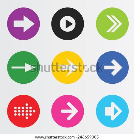 Arrow sign icon set. - stock vector