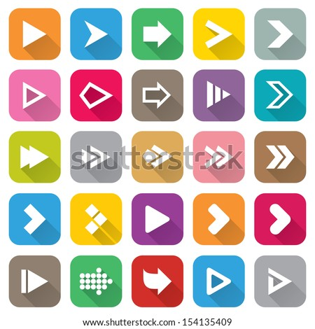 Arrow sign icon set. Flat icons for Web and Mobile Applications. 25 metro style buttons. Isolated on white. Vector. - stock vector