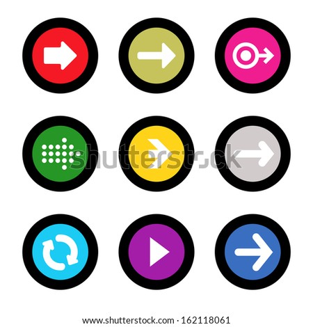 Arrow sign icon set in circle shape internet button on black background. EPS10 vector illustration web elements - stock vector