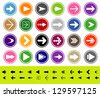 Arrow sign icon set. Simple circle shape internet button on gray background. Contemporary modern style. This vector illustration web design elements  - stock vector