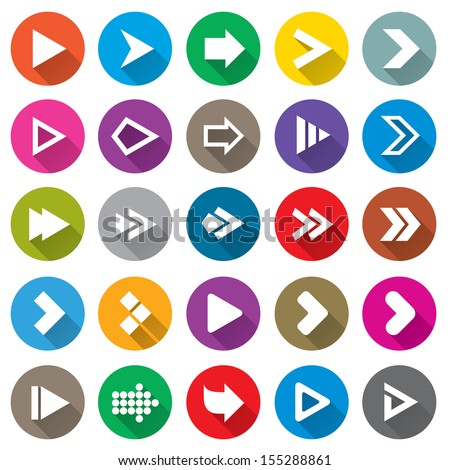Arrow sign icon set. Simple circle shape internet buttons on white. Flat icons for Web and Mobile Applications. 25 metro style buttons. - stock vector