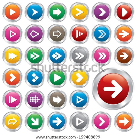 Arrow sign icon set. Simple shape internet metallic buttons. Icons for Web and Mobile Applications. 33 stylish buttons. - stock vector