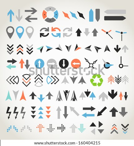 Arrow sign icons collection - stock vector