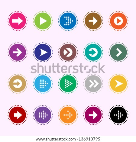 Arrow sign icons set 5 - stock vector