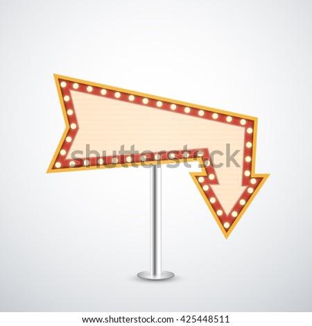 arrow sign retro style theater cinema stock vector royalty free