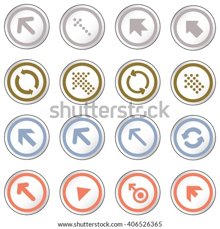 Arrow sign on simple circle shape internet button. Flat style icon set vector illustration  - stock vector