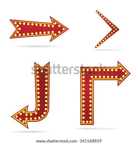 Arrow sign with bulbs - stock vector