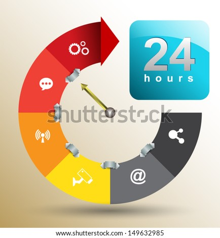 Arrow step with icons 24 hours. Can use for business concept, education diagram, brochure object. - stock vector