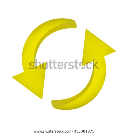 Arrow symbol, yellow icon clipart cycle business concept. Vector illustration isolated on white background.