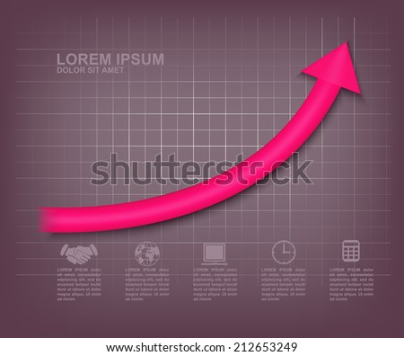 Arrow up graph. Profit diagram with bright pink dimensional arrow up on the graphite color background. Vector - stock vector