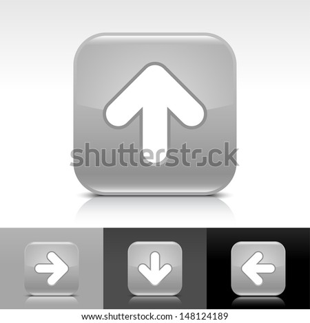 Arrow upload icon. Gray glossy web button with white sign. Rounded square color shape with shadow, reflection on white, gray, black background. Vector illustration design element 8 eps  - stock vector