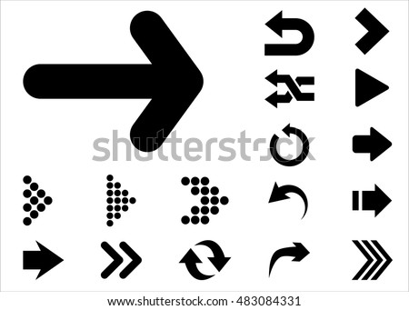 Arrow vector 3d button icon set black color on white background. Isolated interface line symbol for app, web and music digital illustration design. Application sign element collection.