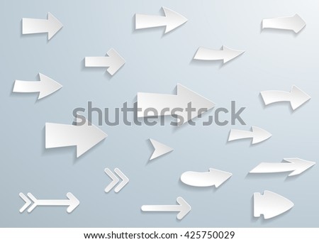 Arrow vector 3d button icon set white color on grey background. Isolated interface line symbol for app, web and music digital illustration design. Application sign element collection. - stock vector