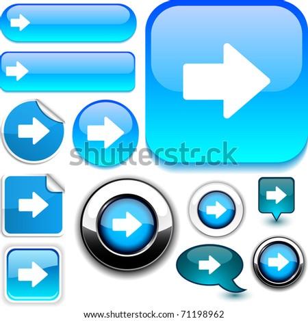 Arrow vector glossy icons. - stock vector