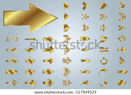 Arrow vector gold curve line up 3d button icon set interface symbol for app, web and music digital illustration design. Application isolated flat digital sign collection on grey background