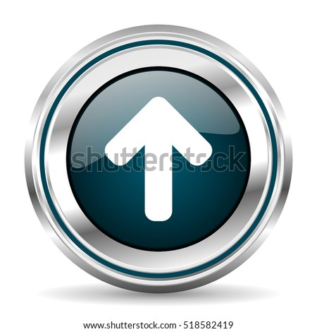 Arrow vector icon. Chrome border round web button. Silver metallic pushbutton.
