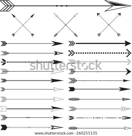 Arrow vintage page dividers Set in Vector on White Background - stock vector