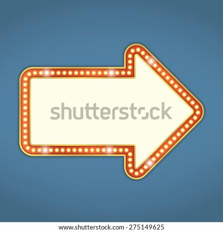 Arrow with retro lights, vector eps10 illustration - stock vector