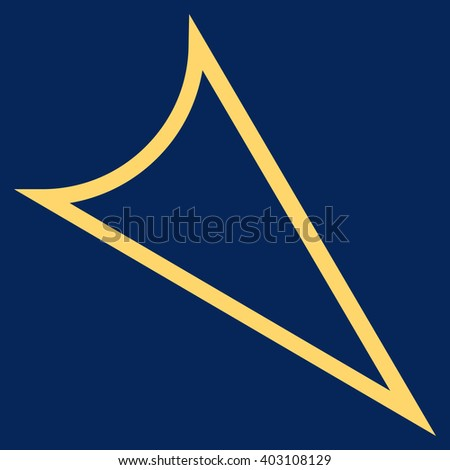 Arrowhead Right Down vector icon. Style is contour icon symbol, yellow color, blue background.