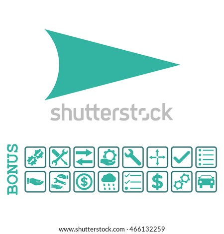 Arrowhead Right icon with bonus pictograms. Vector style is flat iconic symbol, cobalt and cyan colors, white background. Bonus style is bicolor square rounded frames with symbols inside.