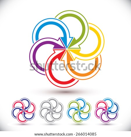 Arrows abstract conceptual symbol template, vector pictogram set. - stock vector