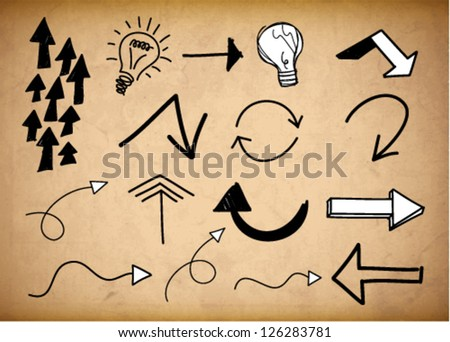 Arrows and bulbs doodles sketchy on the grungy background - stock vector