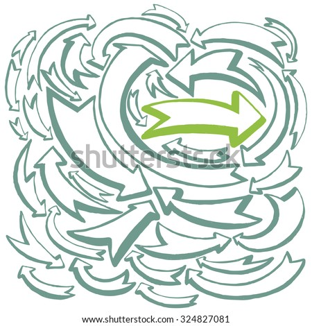 Arrows and directions. Hand drawn illustration. - stock vector