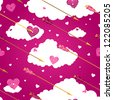 Arrows and hearts seamless vector pattern. - stock vector