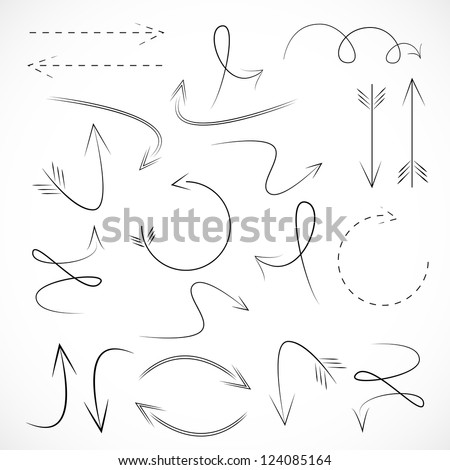 Arrows And Lines - Hand Drawn - Set - Isolated On Gray Background - Vector illustration Graphic Design Editable For Your Design. Logo Arrows