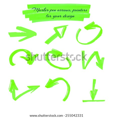 Arrows and pointers green marker for your design, isolated on white background. vector illustration - stock vector