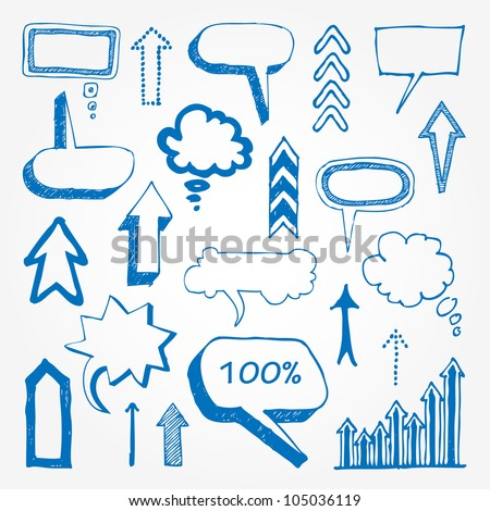 Arrows and speech bubbles set. Hand drawn sketch illustration isolated on white background - stock vector